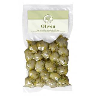 Oliven grün mariniert o. Stein