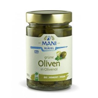 Grüne Oliven in Olivenöl